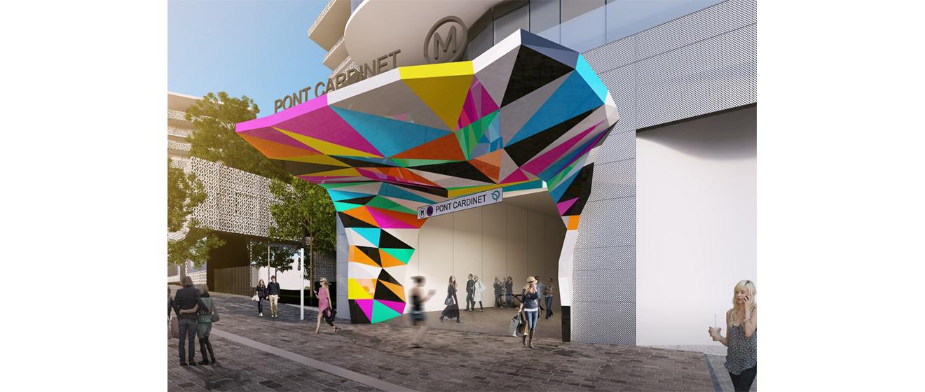 Une oeuvre d'art unique au pied de la résidence Unic pour accéder à la station Pont Cardinet