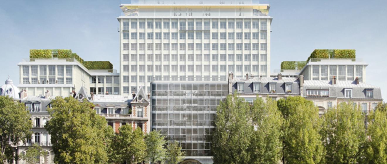 Vue depuis la Seine du projet immobilier Morland à Paris