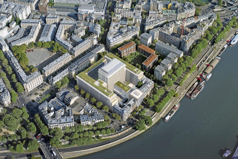 Vue aérienne de Morland Mixité Capitale en bord de Seine