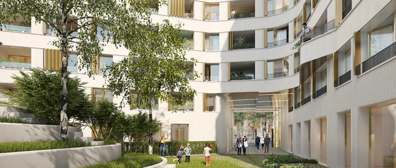 Le jardin intérieur du programme immobilier neuf