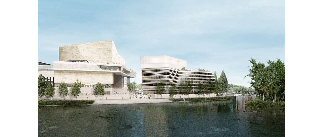 Vue du projet développée par Emerige pour l'Île Seguin