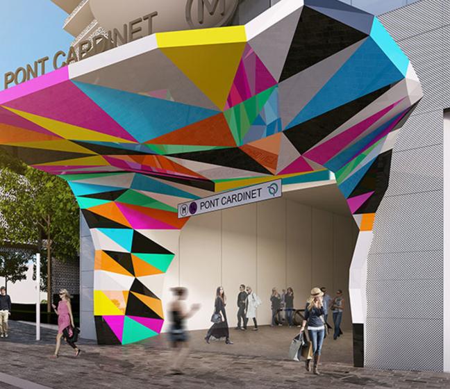 La future oeuvre d'art d'Unic, à l'entrée de la ligne 14 du métro